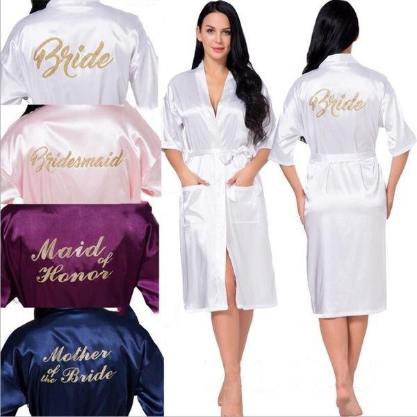 top popular 2021 Fashion Brides Bridesmaid Robes For Wedding Night Party Sheath Ladies Sleepwear Half Sleeves Mohter Of Bride Maid Of Honor Robes AL2503 2021