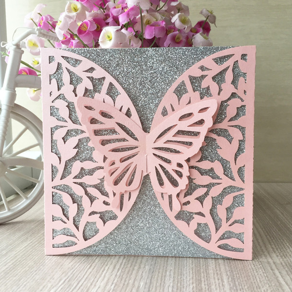50PCS /lot Lace Design Hollow Big Butterfly Wedding Invitation Cards Exquisite Greeting Cards Fancy Dress Party Invitations