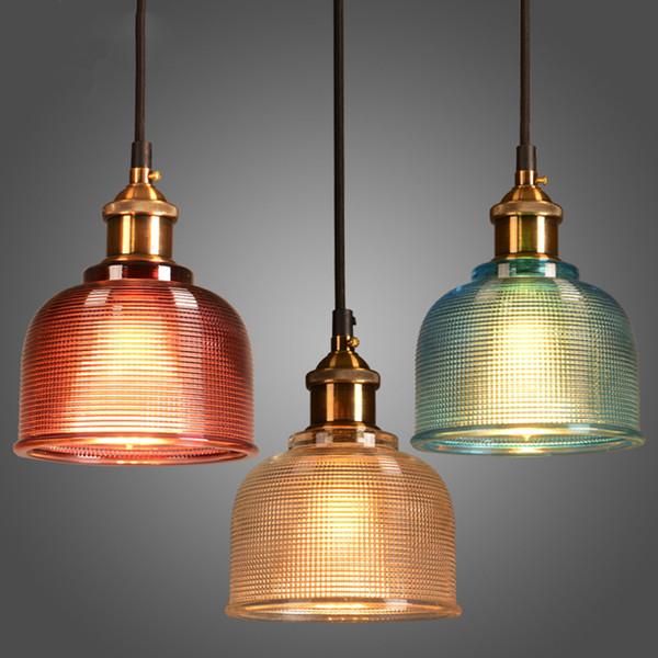 Modern colorful glass pendant light E27 6 color simple led hanging lamp droplight for dinning bar restaurant deco light fixture