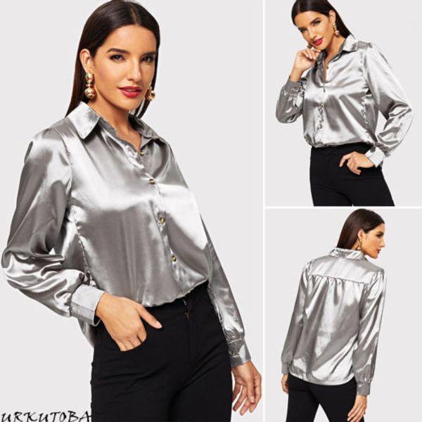Zarif Kadın Düğme Aşağı Çevirmeli Yaka Saten Bluz Uzun Kollu Bayan Gömlek