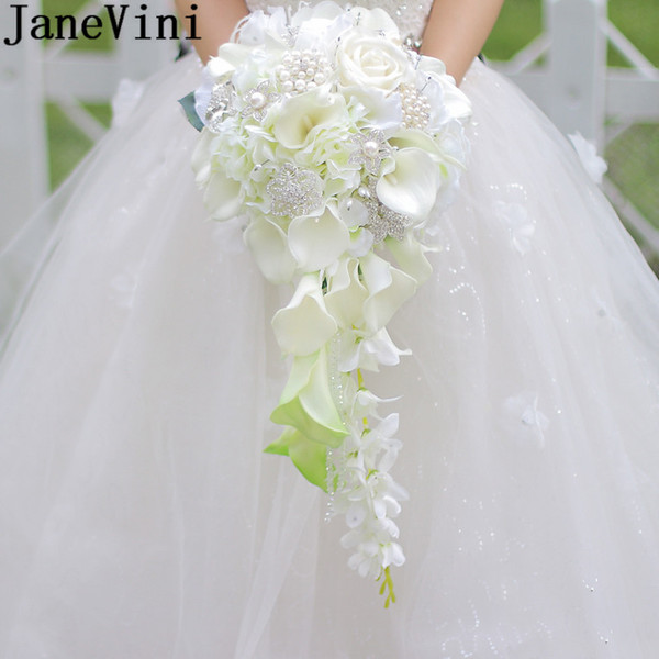 JaneVini Vintage Artificial Bride Flowers Waterfall Calla Wedding Bouquet With Crystal Pearl White Ivory Rose Bridal Brooch Bouquets 2019