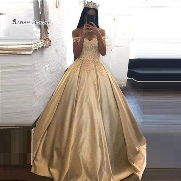 Princess Appliques Taffeta Off Shoulder Prom Dresses Evening Wear In Stock Hot Sales High-end Occasion Dress