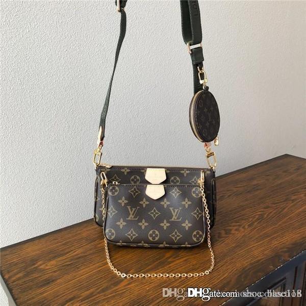 Los últimos 3 en 1 bolsos de cuero clásicos, Ronda de la moneda del monedero de la bolsa de hombro Cruz Zippy favorito de marca mujer marrón negro icónicas Embragues
