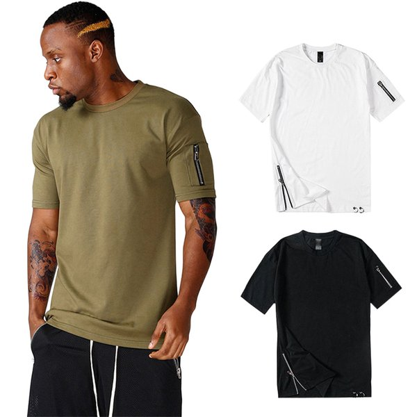 T-Shirt Zipper New Design Uomo Ragazzo T-Shirt Hip-hop Bianco Nero Manica corta T-shirt in cotone 100% Tees Sport Jogger Top Gilet LGF0434