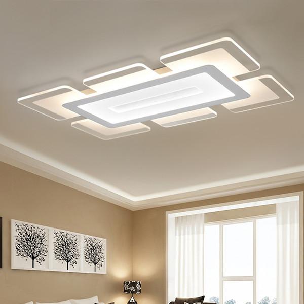 Großhandel Moderne LED Deckenleuchten Für Wohnzimmer Leuchte Oberfläche  Quadrat Lampenschirm Schlafzimmer Hause Einfache Lampe Dimmbare Luminaria  100 ...