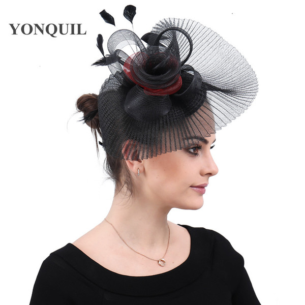 Black wedding hats elegant women wedding party tea hair accessories ladies feathers headwear hair clips with headbands race free shipping