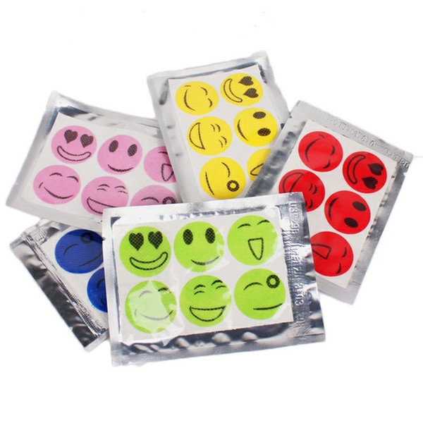 Anti Mosquito Stickers Summertime Often Get Ready Prevent Fly Paste Cartoon Smiling Face Six Tablets Expel Insect Paper 1set=6pcs