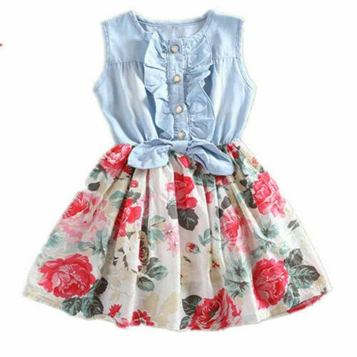 Kid Girls Jean Denim Dress Bow Flower Ruffled Dress Sundress Clothing Costume kids dresses for girls children kids dress