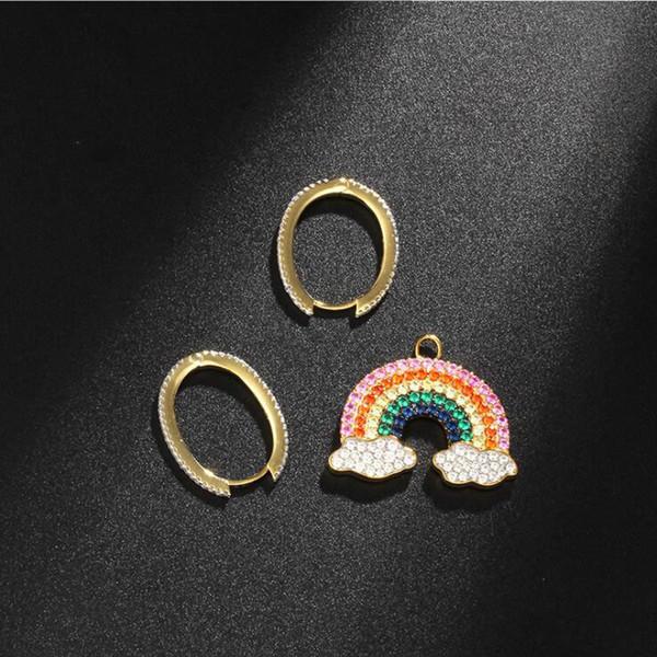 APM Monaco 925 Golden Asymmetric Earrings Rainbow Eardrop Temperament Fashion Long Earrings Silver Jewelry
