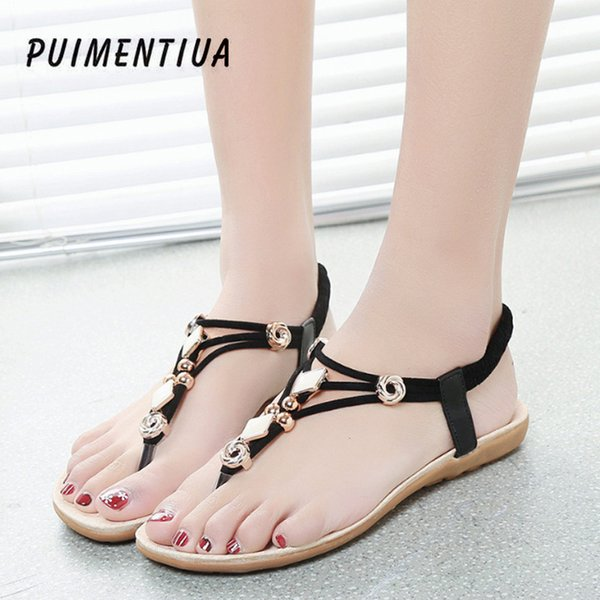 Puimentiua Sexy Mode Frauen Süße Klippzehe Perlen Sandalen Böhmen Sommer Römischen Stil Strand Sandale Für Damen Schuhe Plus 42