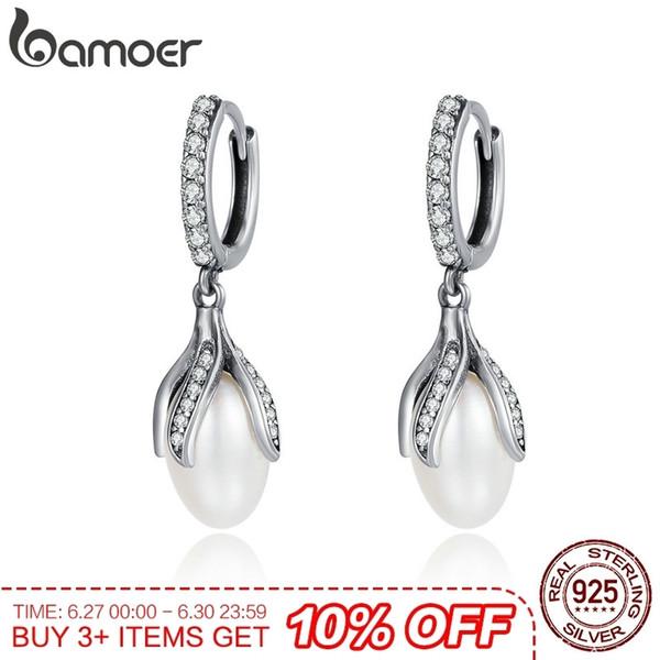 Bamoer Authentic 925 Sterling Blooming Flower Petal Freshwater Pearl Drop Earrings For Women Luxury Silver Jewelry Sce259 J190628