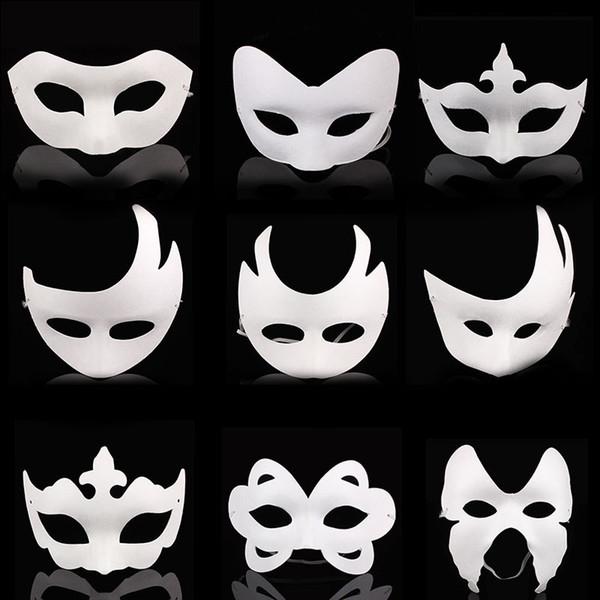Fai da te dipinto a mano di Halloween maschera viso bianco corona farfalla maschera di carta in bianco mascherata maschera cosplay kid disegnare maschere di partito puntelli