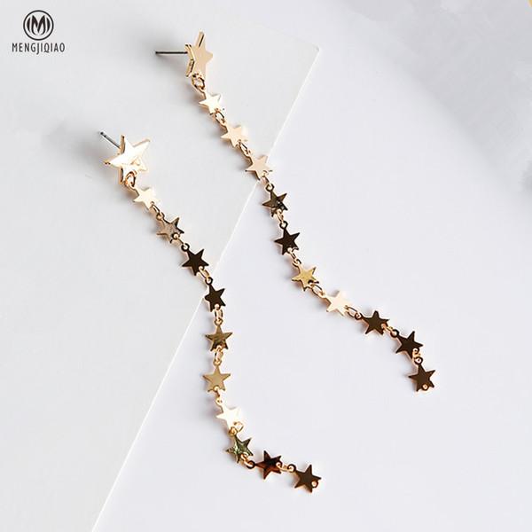 2017 Trendy Elegante Lange Ohrringe Für Frauen Ohr Zubehör Persönlichkeit Bling Star Pailletten Baumeln Ohrringe Mode Brinco D19011502