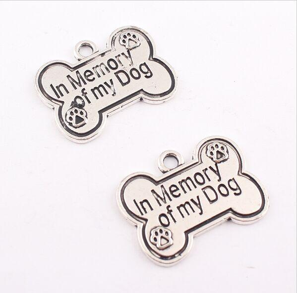 30pcs / lot vintage argent antique en mémoire de mon chien pendentif charme bricolage collier charme bracelet bracelet 25x19mm