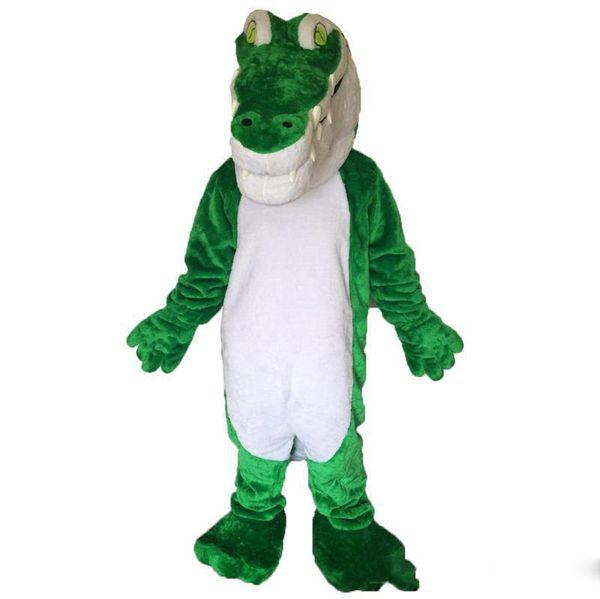 2018 Sıcak satış Yeşil timsah Maskot Kostüm Karikatür Gerçek Fotoğraf