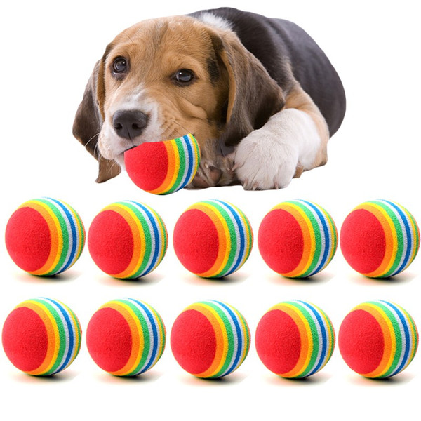 best selling Diameter 35mm interesting Pet Toy dog and cat Toys Super cute Rainbow Ball toy Cartoon plush toy