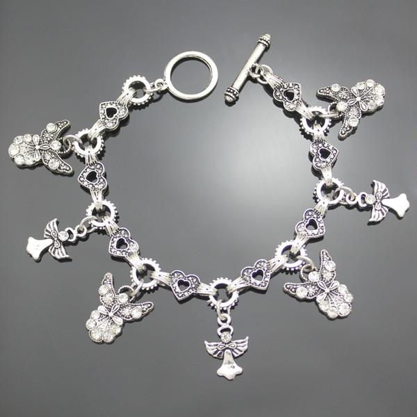 Mädchen Geschenk Schutzengel Flügel Kreuz Herzanhänger Toggle Silber Armreif Weihnachtsschmuck anpassbare Großhandelsparty