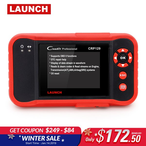 Launch X431 Creader CRP129 OBDII diagnostic tool for ENG/AT/ABS/SRS + EPB Oil SAS reset CRP 129 Scanner multi-language