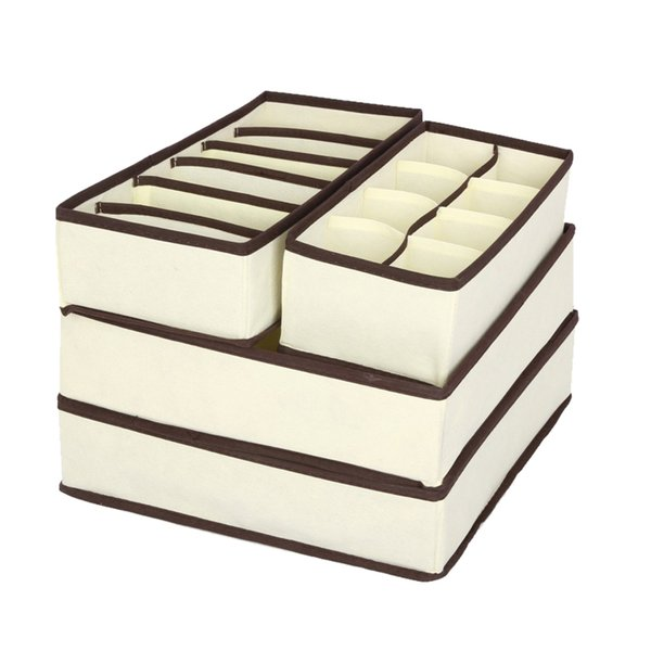 4PCS Storage Boxes For Ties Socks Shorts Bra Underwear Divider Drawer Lidded Closet Organizer Ropa Interior Organizador