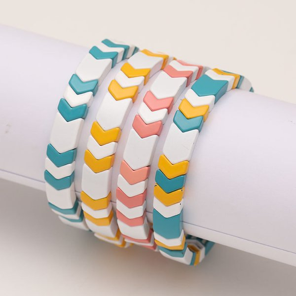 Enamel Tile Bracelets Stackable Fashion Arrow Bracelet For Women Summer Beach Stretch Allloy Paint Gold Beads Jewelry 2019 New