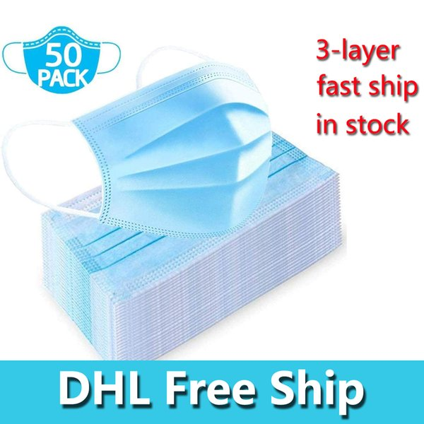 dhl 3-layer non-woven disposable mask face masks protection and personal health mask face sanitary mask in stock