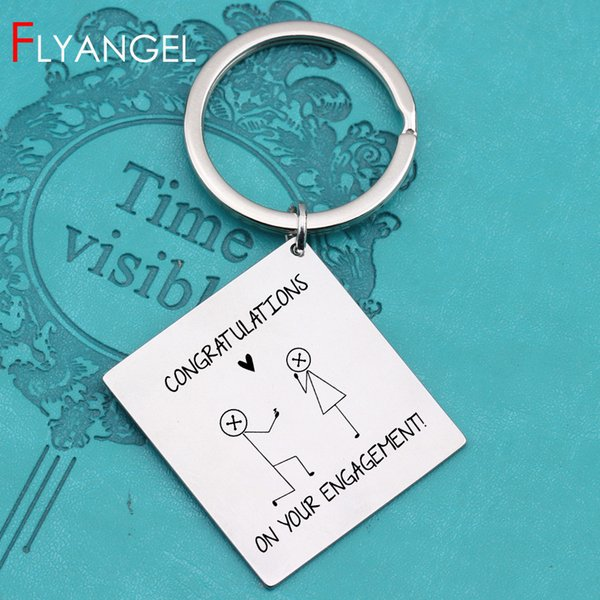 High Quality Laser Engraved Congratulations On Your Engagement Key Chains Gifts To Engagement Couples Lover's Keyring Key Tag