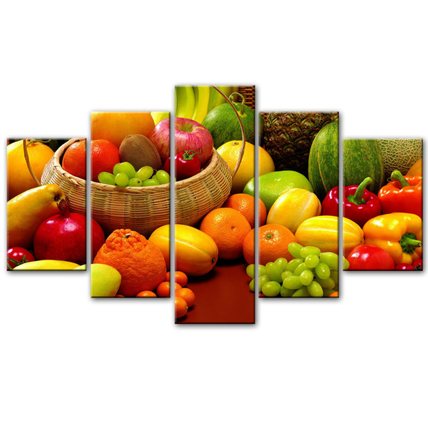 Modern Home Kitchen Room Wall Art Picture 5 Pieces Variety Of Fruit Canvas Painting For Bedroom Home Decor Unframed