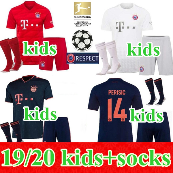 best selling 19 20 Soccer jersey home away 3rd kids kit 2019 2020 VIDAL LEWANDOWSKI MULLER ROBBEN child boys kits uniform jersey