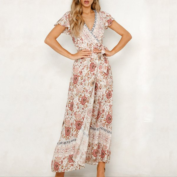 best selling 2019 Summer Women Floral Print Boho Dress Sexy V-neck High Split Beach Long Dress Causal Short Sleeve Sashes Wrap Maxi Dresses Q190402