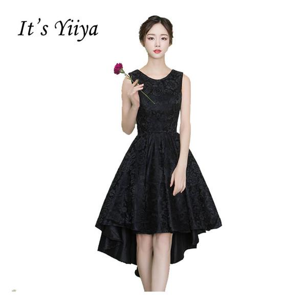 Compre Es Yiiya Cóctel Sin Mangas Con Cuello En O Negro Pequeño Vestido Negro Encaje Hasta La Rodilla Fiesta Alta Baja Vestidos Vintage Simples Negros
