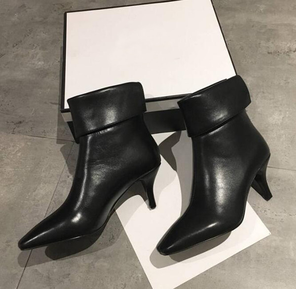 Brand Name Womens High Heel Ankle Martin Pointed Toes Waterproof Autumn Winter Boots Cow Leather Zip Shoes Original Box Size 35-40