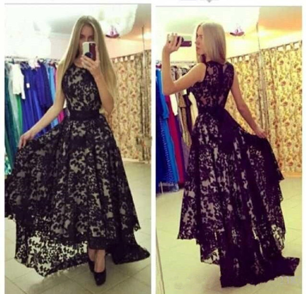 2019 New Vestido de festa Sexy Sheer Lace Evening Dress with High Low Skirt A-line Ribbon Bow Belt Long Black Evening Dresses