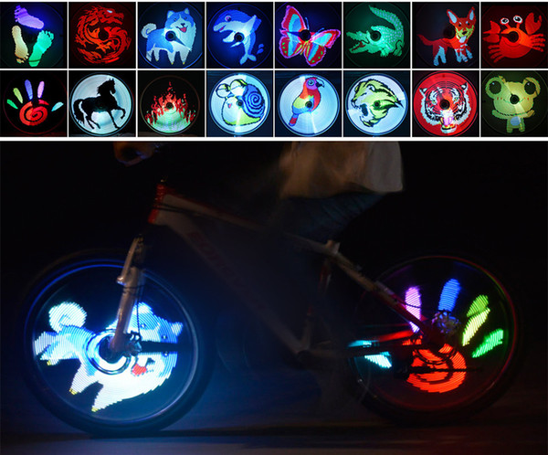15pcs YQ8003 128 LED DIY Bicycle Light Programmable Bike Wheel Spokes Light Motor Tire Lamp Screen Display Image For Night Cycling
