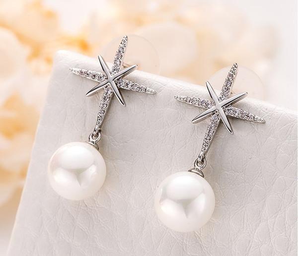 Boucles d'oreilles perle en argent pur rouge NET Boomers tempérament personnalité coréenne simple cent long boucles d'oreilles pendantes à franges