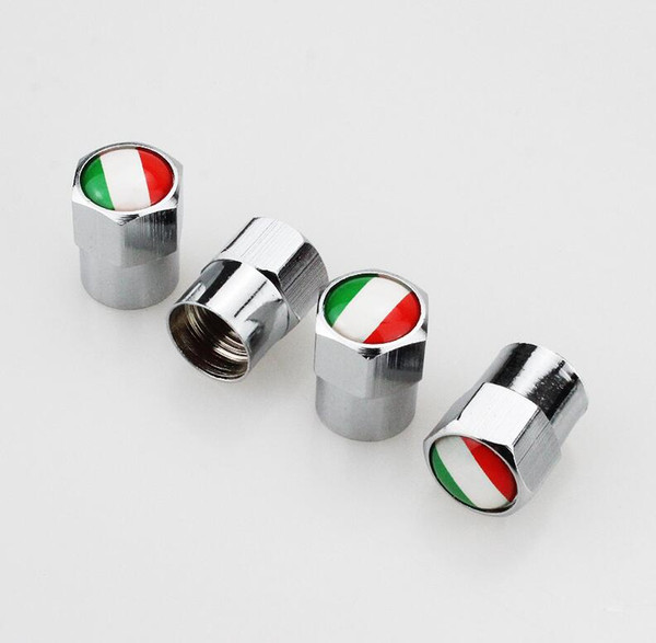 4Pcs Italian Flag Car Motorcycle Bike Wheel Tyre Tire Valve Stem Air Caps Cover