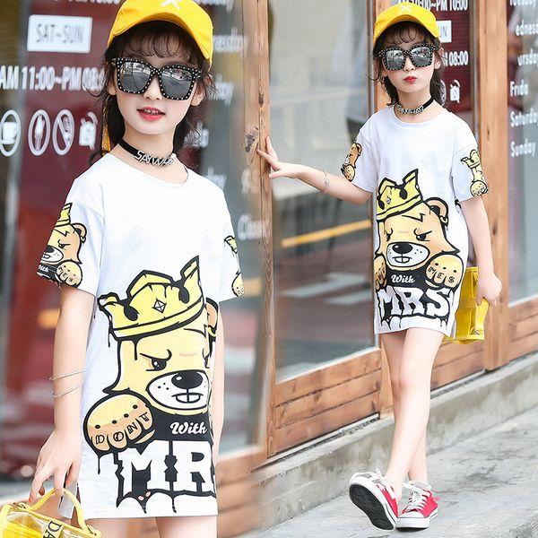 Summer Cotton 2018 Long T-shirts For Girls Children Clothing Kids Cartoon Tee Shirts Teenage School Clothes 4 6 8 10 12 14 Year Y19051003