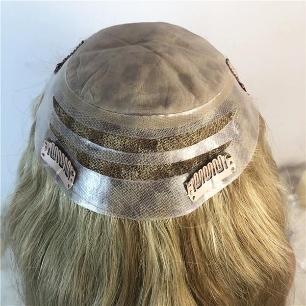 Women Toupee Wig Mix Blonde Lace Toupee For Women Mono Lace With Npu Toupee Replacement System Brazilian Virgin Hair Straight Women Hair