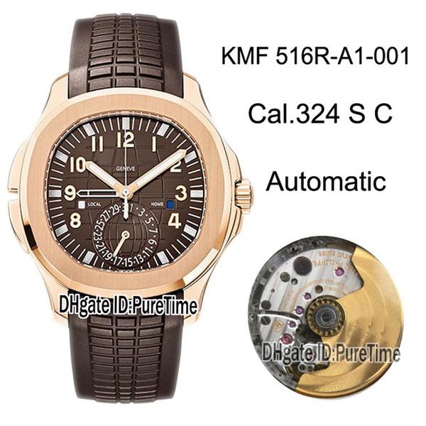 GRF Aquanaut 5164R-001 Cal.324SC Automatische Herrenuhr Roségoldbraun Geprägtes Zifferblatt Uhren Braunes Kautschukarmband Best Edition Puretime GR03c3