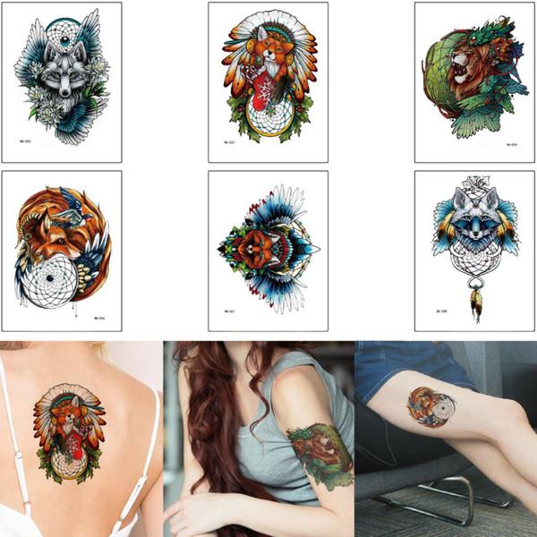 Animal Tatuaje Temporal Etiqueta India Fox Dreamcatcher Leon Del