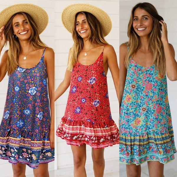 90s Floral Ruffle Spaghetti Strap Dresses Grunge Babydoll Dress Short Ruffled Mini Dress Fit N Flare Camisole Dress