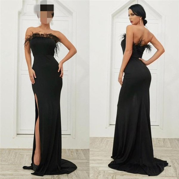 Mermaid Black Formal Evening Dresses Sexy High Split Strapless Feathers Robe Arabic Evening Gowns Lebanon Women Celebrity Party Dress 2019
