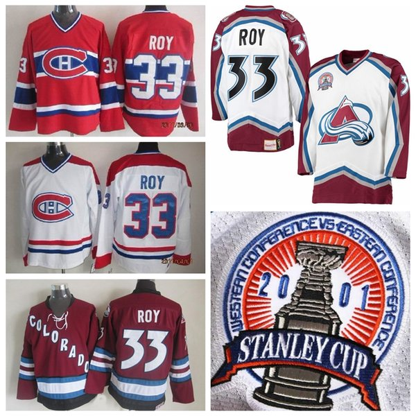 444e9ce3c Best Quality #33 Patrick Roy Jersey Colorado Avalanche 2001 CCM Vintage  Stanley Cup White Montreal Canadiens Patrick Roy Hockey Jerseys