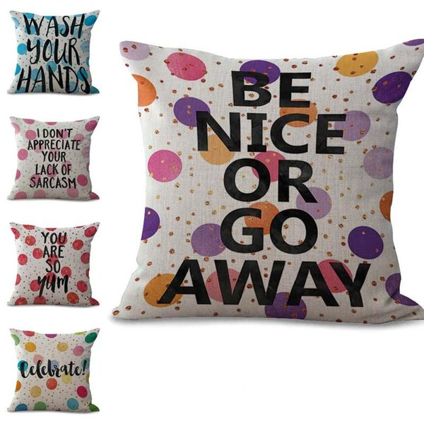 Inspirational English Letters Taie d'oreiller Housse de coussin en lin coton Throw Carré Taie D'oreiller Couverture Drop Ship 300778