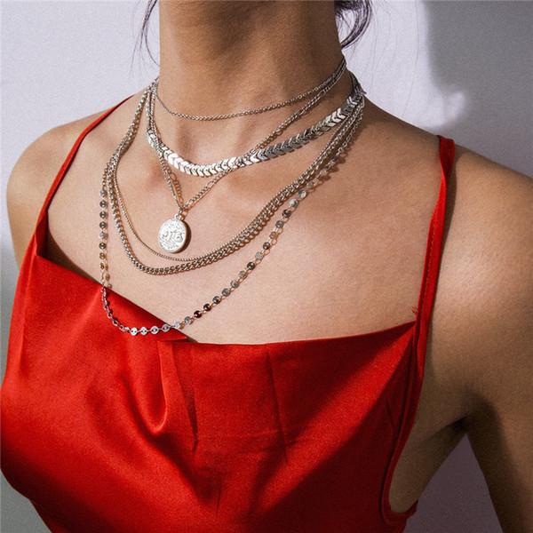Mamojko богемского Многослойного Золото Серебро пришивание Змей Кость ожерелье женщины Мода монеты ожерелье ювелирных изделия