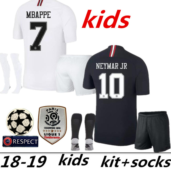 2018 2019 kit de niños calcetines de fútbol Camisetas 18 19 mbappe home VERRATTI CAVANI niño Buffon RED psg CAMISA Jordam Champions League manga larga NIÑOS