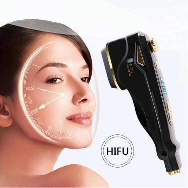 Mini portatile Hifu macchina per il viso antirughe che stringe ultrasuoni RF Hifu per ringiovanimento della pelle DHL libera il trasporto