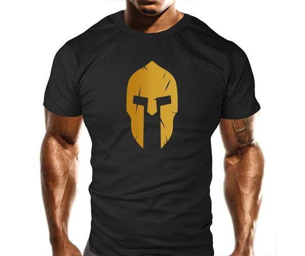 Das T-Shirt der spartanischen Sturzhelm-Männer Trainings-Workout-Bodybuilding-Turnhallen-Eignungs-T-Shirt Hip-Hop-Art übersteigt neue Marke-Kleidung T-Stück 2018 kurze Hülse