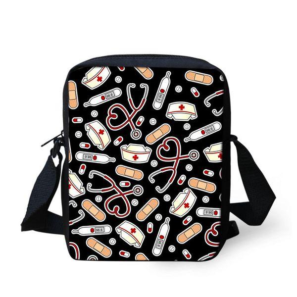 THIKIN Nurse Cap Stethoscope Painting Women Mini Messenger Bag Nurse Theme Girls Fashion Handbags Children Shoulder Bag Custom