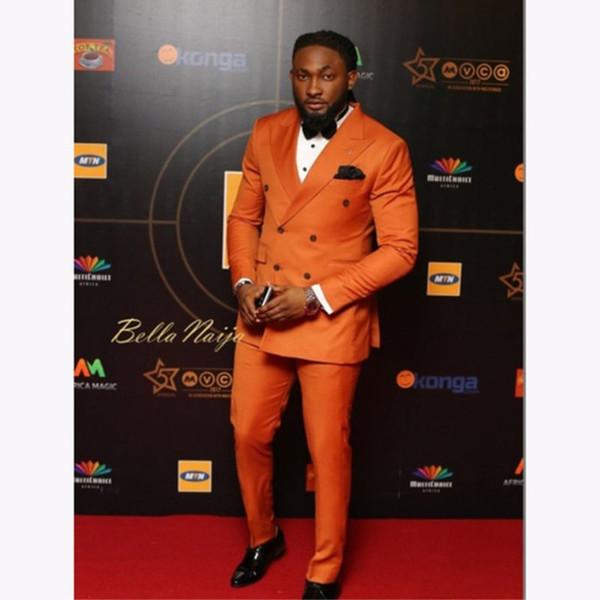 Elegante naranja doble traje de los hombres traje 2018 boda personalizada smokinges trajes de novio para hombres de negocios de los hombres ropa de oficina (chaqueta + pantalones)