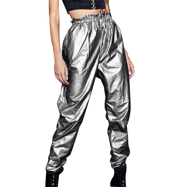 Sparkly Glitter Harem Pants Women Summer 2019 Silver Metallic Casual Pants & Capris Ruffles Elastic Waist Pleated Sweatpants